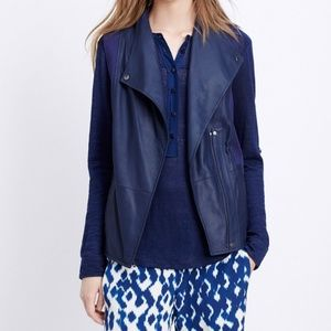 NEW Vince Leather Navy Zip Up Motorcycle Vest $695